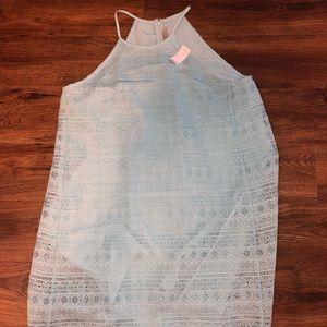 LOFT GÉO JAQUARD BABY BLUE SIZE 12 DRESS